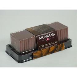 Carrés de Chocolat Noir 70% de cacao - Réglette de 24 carrés - MONBANA