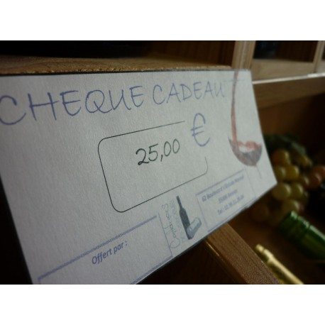 Chèque cadeau 25 €Euros