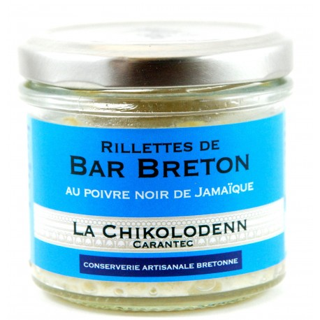 Rillettes de Bar Breton au poivre noir de Jamaïque La Chikolodenn